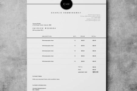 Invoice Template Invoice Design Receipt MS Word Invoice   Etsy         zoom