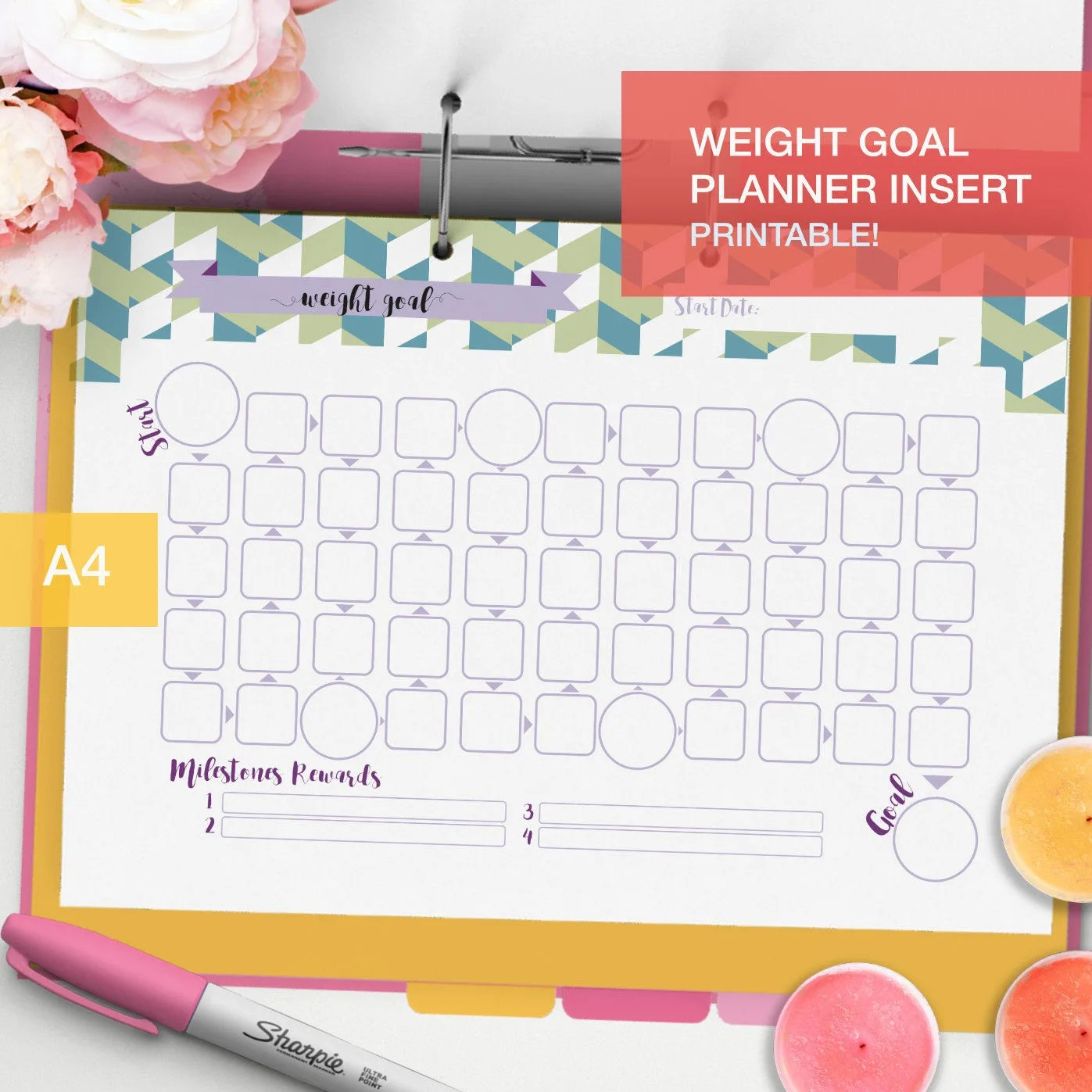 Printable Weight Goal Planner Inserts
