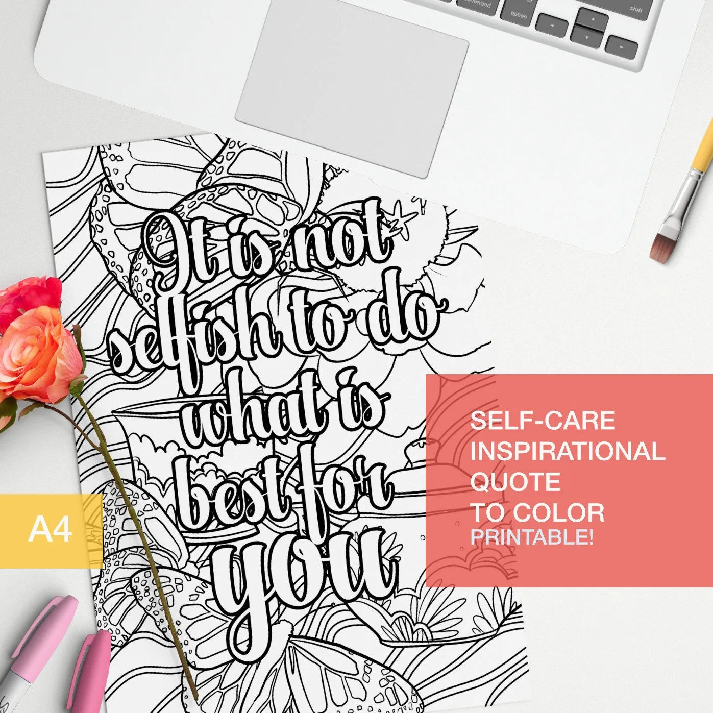 Self Esteem Coloring Quotes Printable It Is Not Selfish To