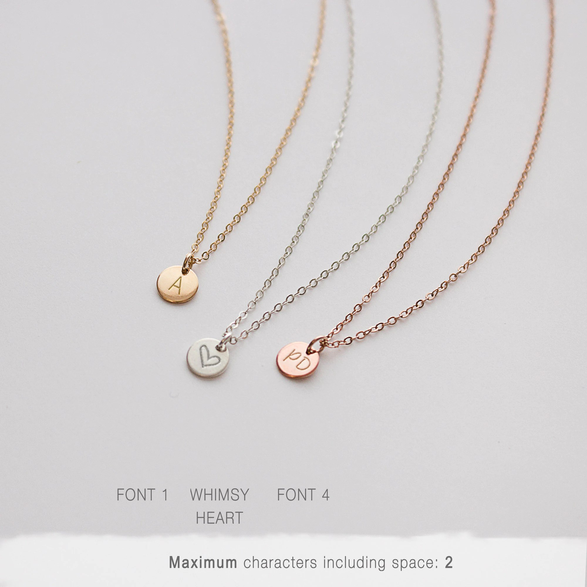 Minimal Delicate Initial Necklace Personalized Tiny Letter image 2