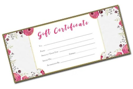 Beautiful Gift Certificate Flower Pattern blank gift   Etsy image 0