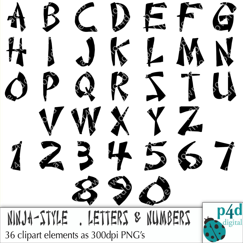 Alfabet 36 Ninja Stijl Letters En Cijfers Clipart