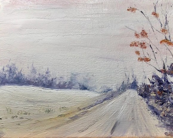 Wintry Road- Oil Painting...