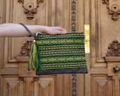 Green boho clutch, Ethnic...