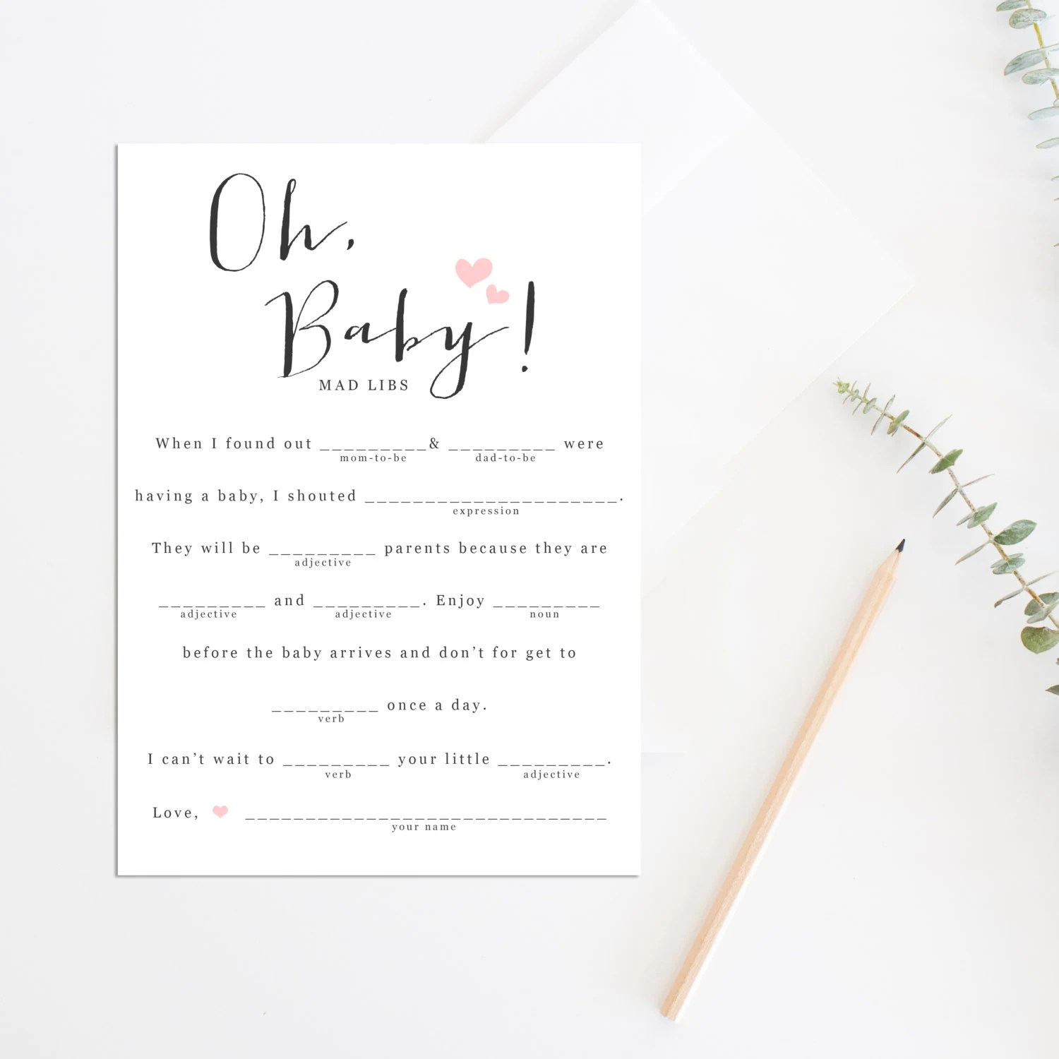 Baby Shower Mad Libs Printable Baby Shower Game Baby Shower