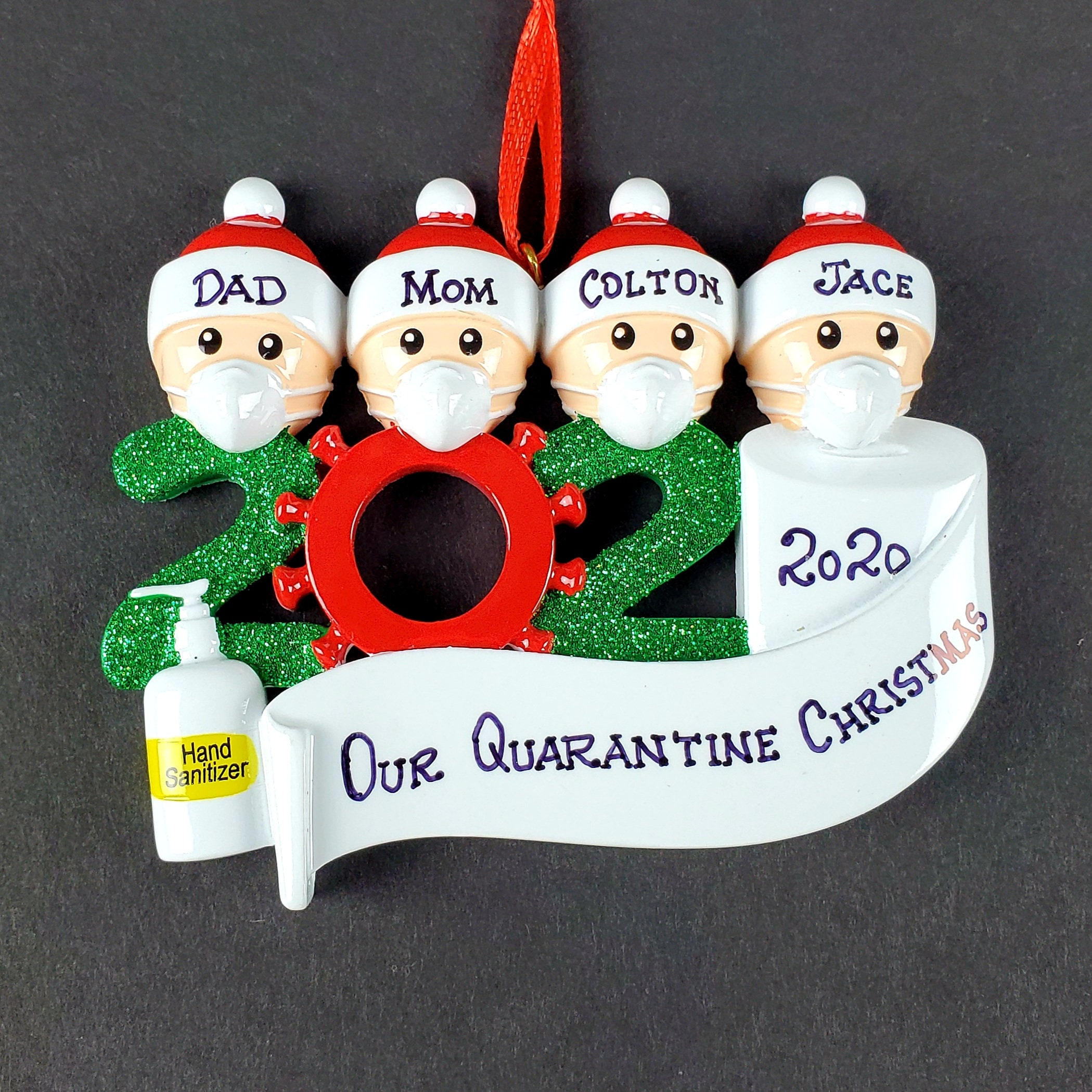 Corona Ornament 2020 Pandemic Quarantine Personalized Family Family of 4