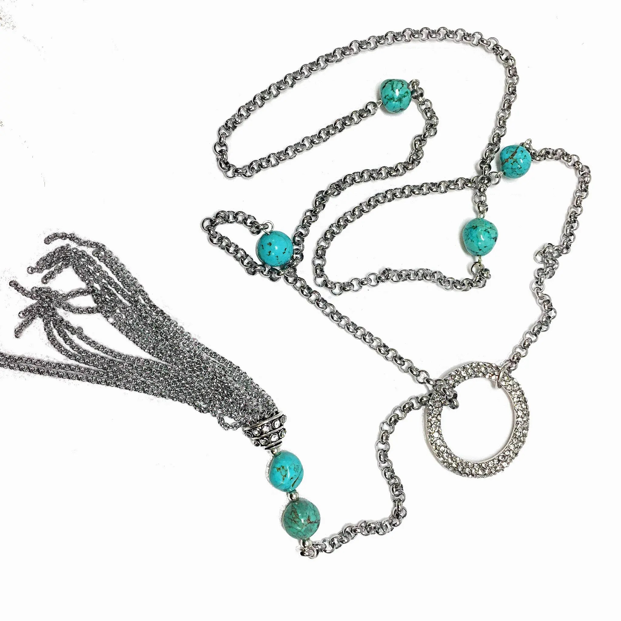 Turquoise Beads Lariat Necklace Silver Crystal Tassel O