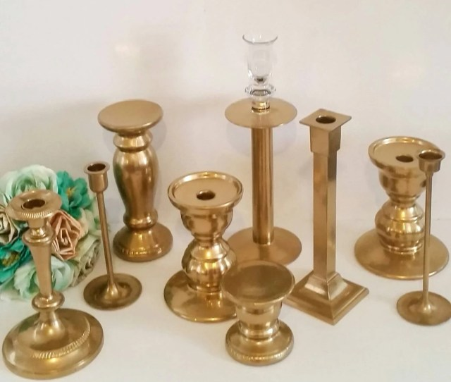 12 Gold Candlesticks Candle Holders Centerpiece Wedding Decorations Reception Table Decor Gold Candle Holders Set Of 12 Vintage