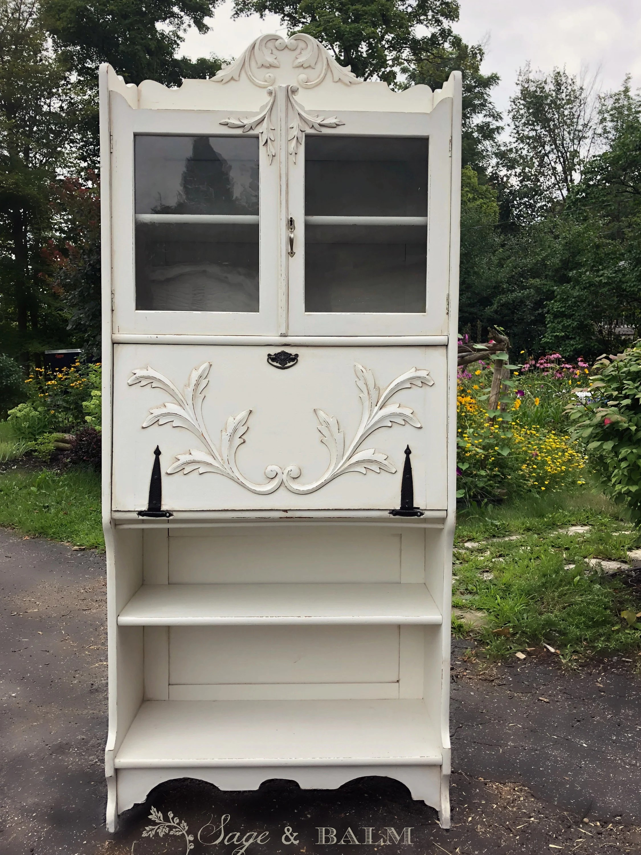 Shabby Chic White Grey Antique Secretary Desk With Bookshelf Distressed Painted Furniture Painted Bookcase Desk White Computer Desk