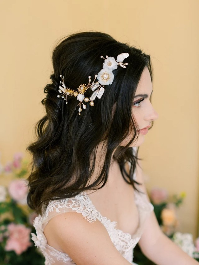 odette - raw agate quartz bridal hair comb set, bohemian crystal wedding hairpiece