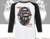 Official MorbidlyBeautiful mascot Raglan baseball shirt  - home is where the horror is