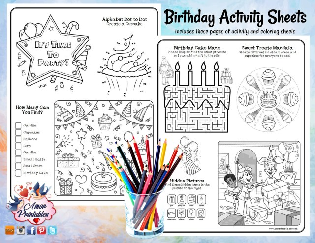 Birthday Activity Pages  Birthday Coloring Pages  Party Activity   Coloring Book  Coloring Sheet  Party Printable  Kids Coloring
