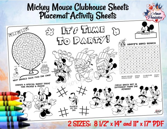 Mickey Mouse Clubhouse  Placemat Activity Sheet  Birthday Coloring  Placemat  Coloring Activity  Kids Party Printable  Kids Coloring