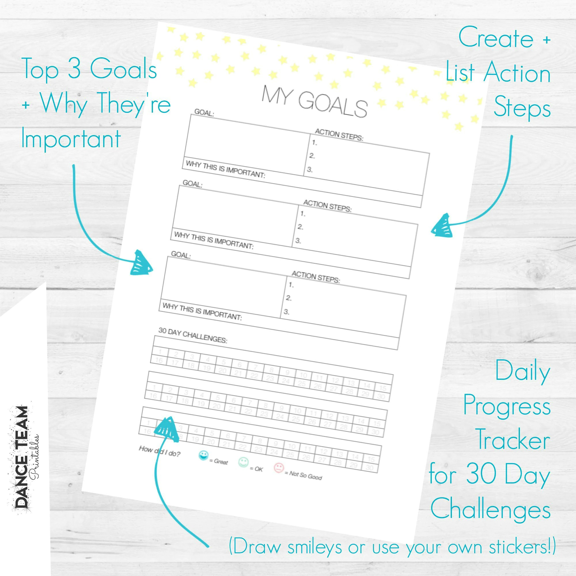 Goal Tracking Worksheet My Goals Printable