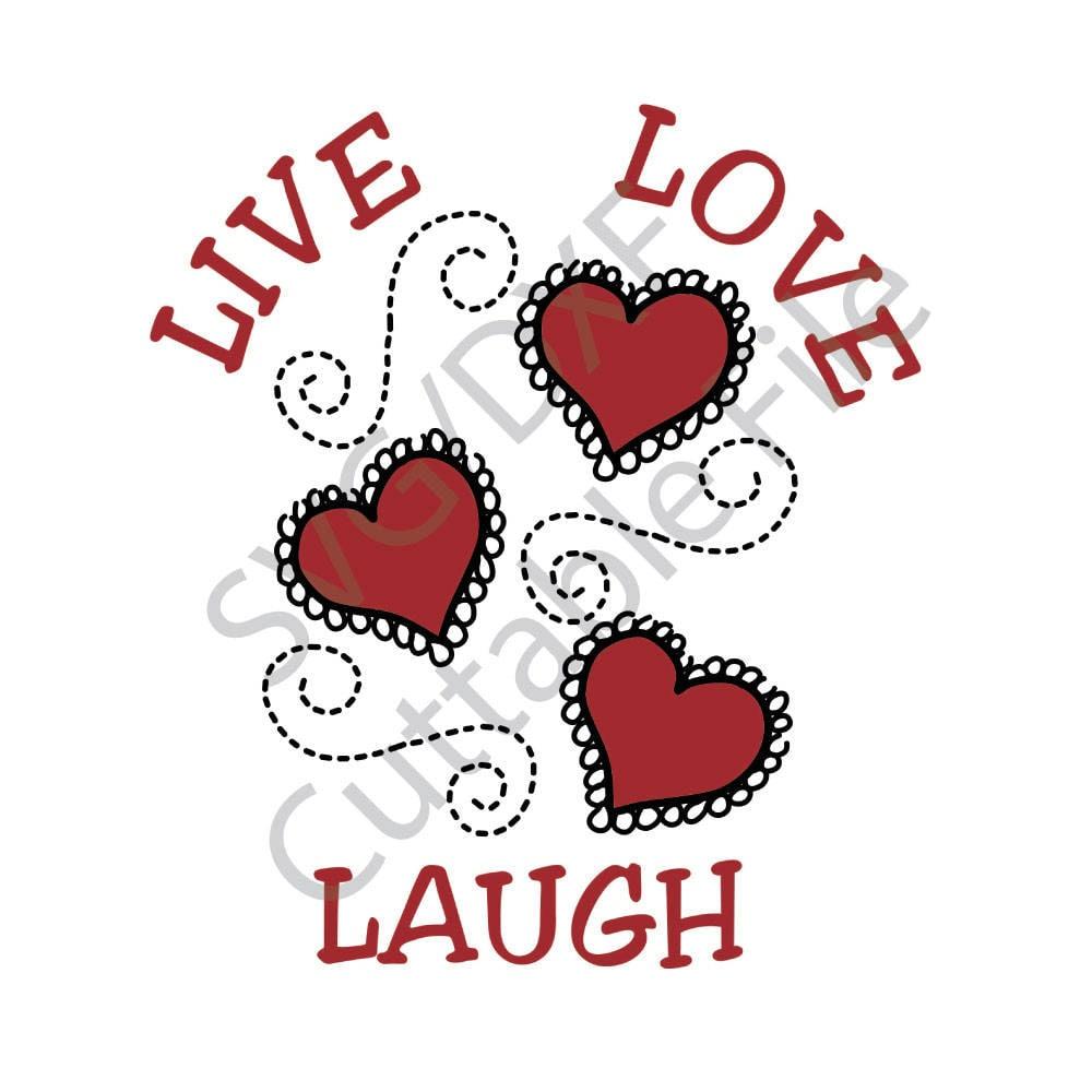 Download Live Love Laugh SVG Hearts SVG DXF File htv Vinyl | Etsy