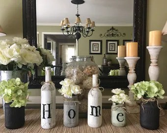 Rustic home decor   Etsy Rustic Home Decor  Rustic Mixed Bottle Home Display  Rustic Home Sign   Living room decor  Entry way decor