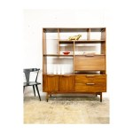Mid Century Modern Wall Unit Bookcase With Drop Down Bar Or Desk Room Divider