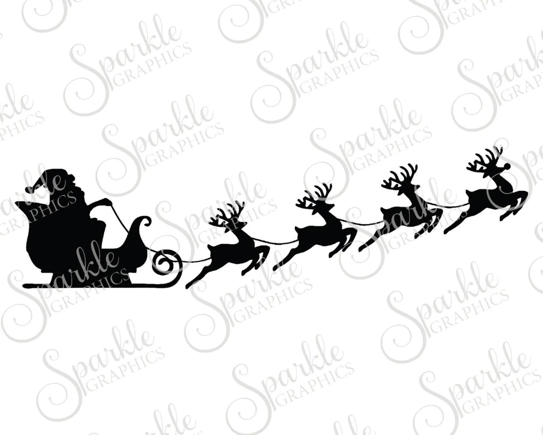 Christmas Sleigh Cut File Christmas Svg Santa Reindeer
