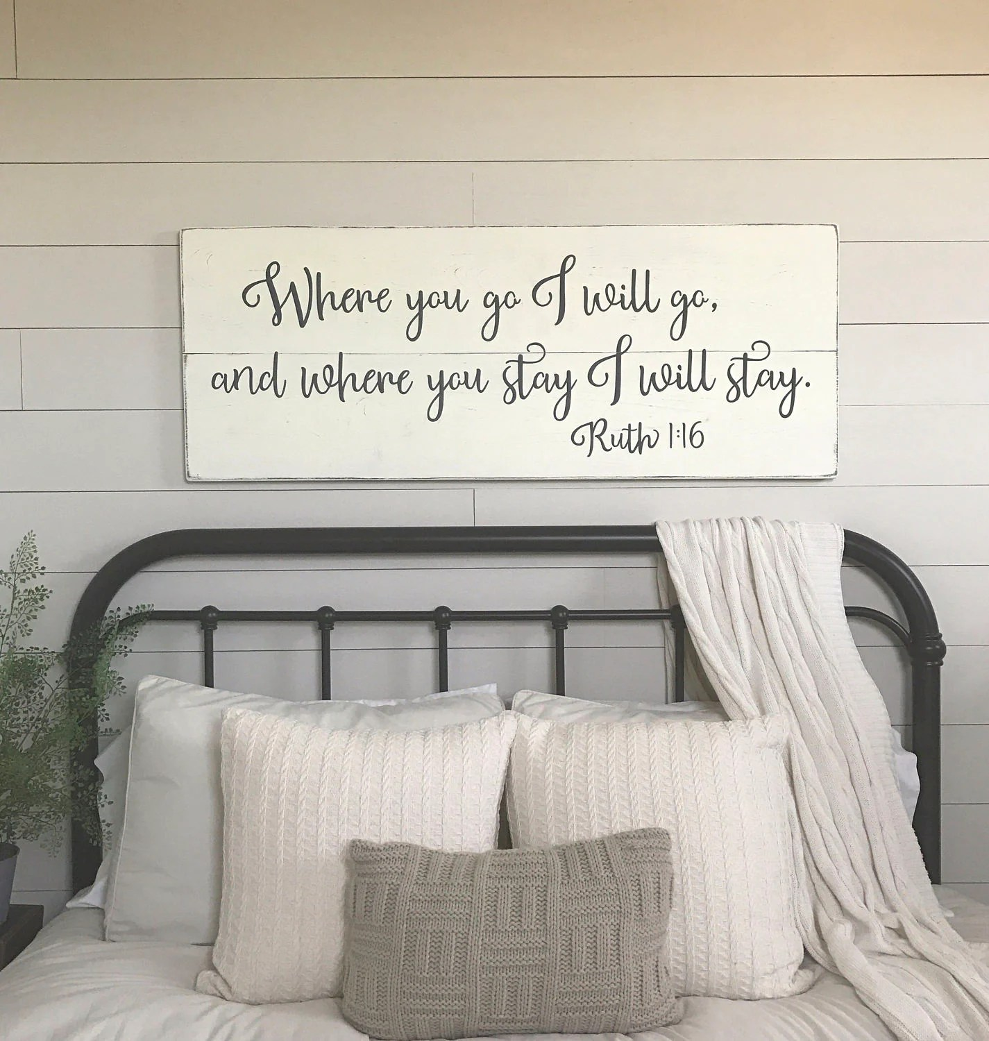 Bedroom wall decor Where you go I will go wood signs | Etsy on Bedroom Wall Decor  id=35259