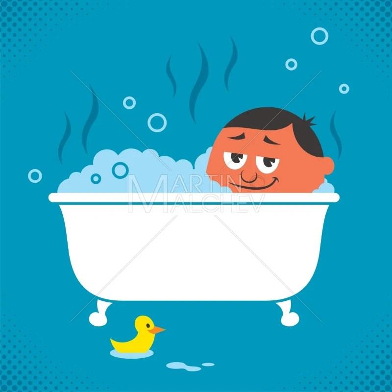 baignoire detente vector illustration de dessin anime baignoire bain salle de bain bain moussant loisirs loisirs repos l homme au repos de