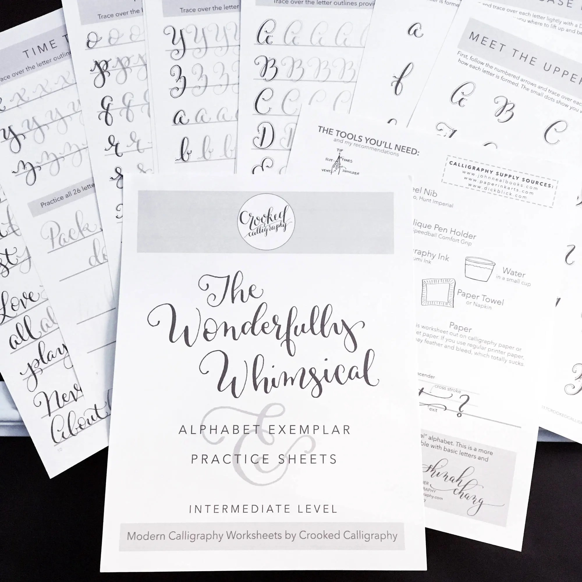 Modern Calligraphy Printable Worksheet Instant Download