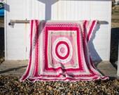 Large Handmade Detailed Pink Crochet Blanket