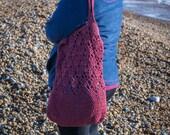 Handmade Red Crochet Market Reusable Bag