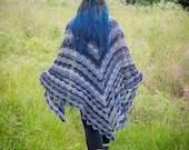 Handmade Grey Lace Crochet Wrap Shawl