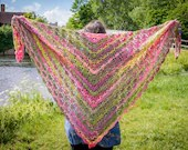 Handmade Pink and Green Crochet Wrap Shawl