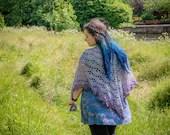 Grey to Purple Ombre Handmade Crochet Wrap Shawl