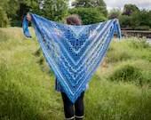 Handmade Crochet Blue Mix Lace Wrap Shawl