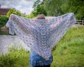 Handmade Crochet Multicoloured Blue/Pink Wrap Shawl