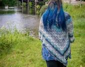 Grey and Teal Handmade Crochet Wrap Shawl