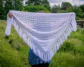 Handmade Crochet Fringed White Shawl Wrap