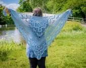 Handmade Crochet Blue Lace Wrap Shawl