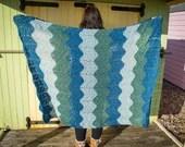 Chevron Ocean Colour Crochet Handmade Blanket