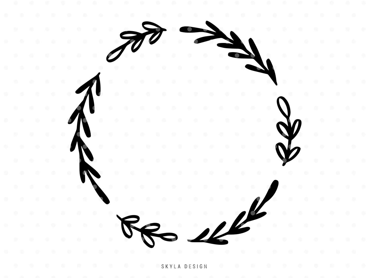 Leaves Branch Wreath Svg Cutfile Laurel Thanksgiving