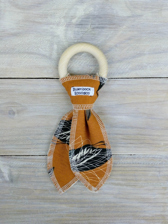 Babies Wooden Teething Toy – Organic Cotton – Unisex – Baby Gift