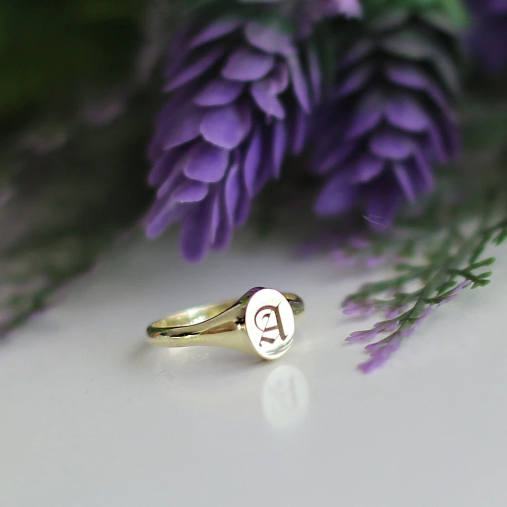 Initial Ring Personalized Signet Ring Gold Signet Custom image 3