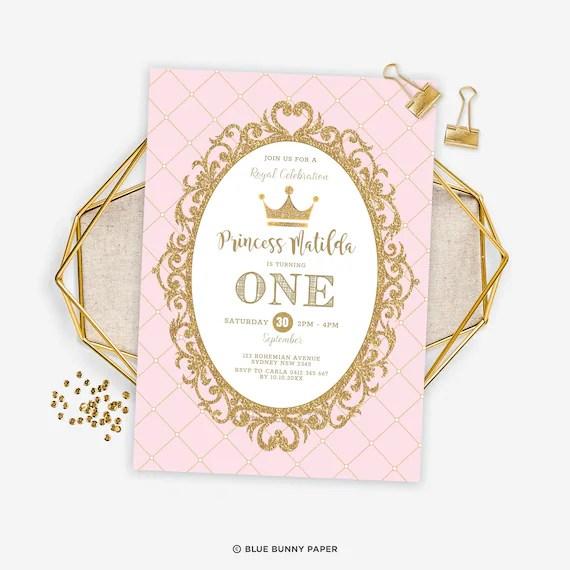 princess first 1st birthday invitation
