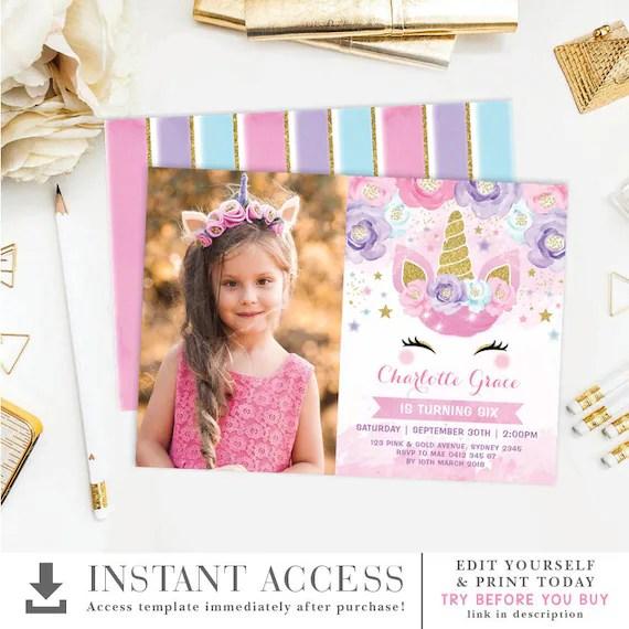 editable unicorn birthday invitation template magical rainbow unicorn printable invite pink purple gold floral stars uni19