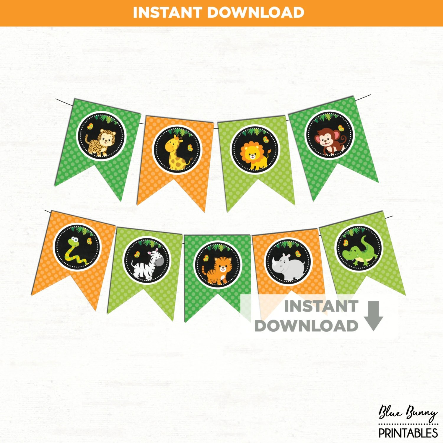 Jungle Party Banner 8 Printable Pennant Flags Jungle First