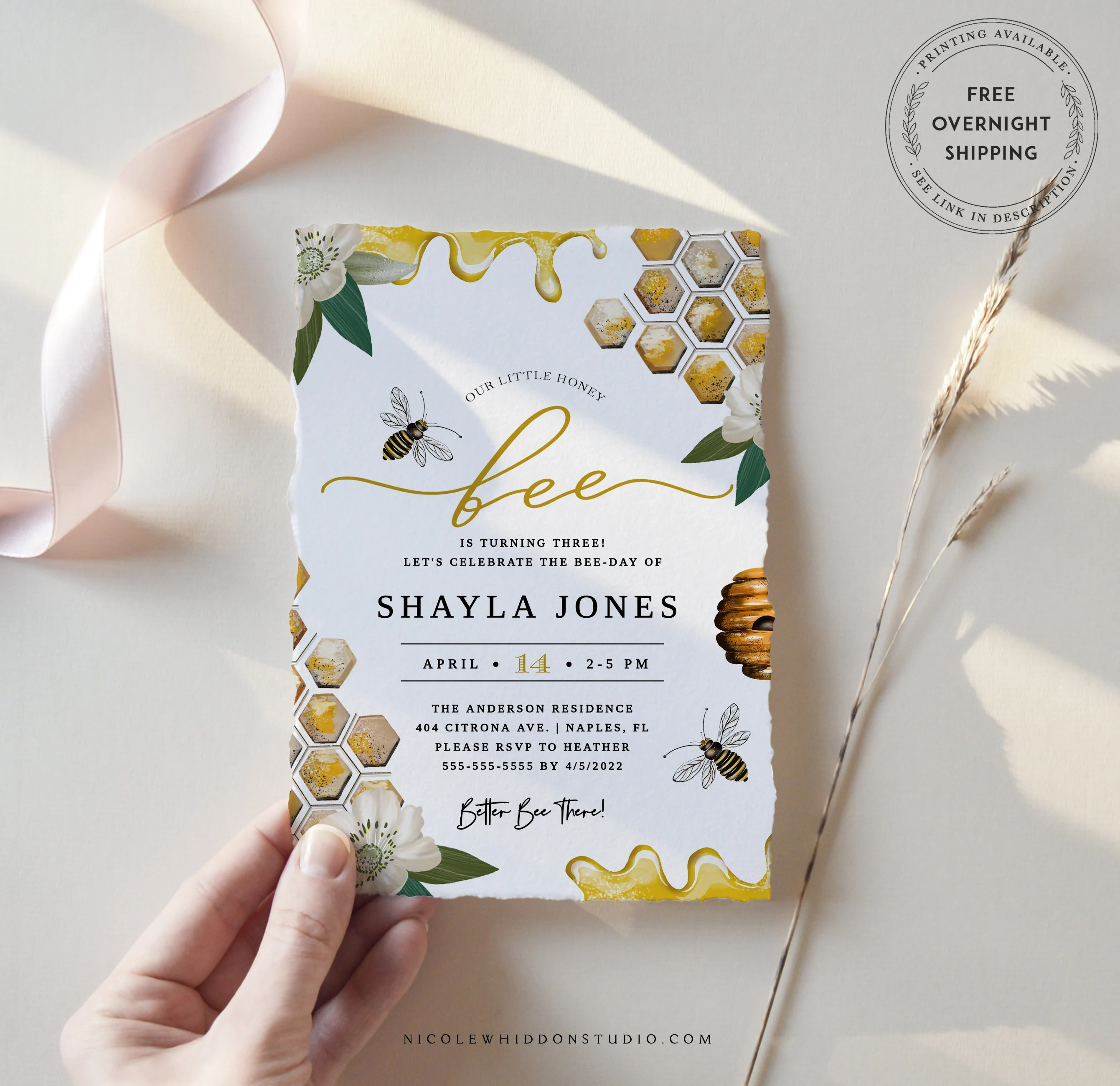 bee birthday party invitation template