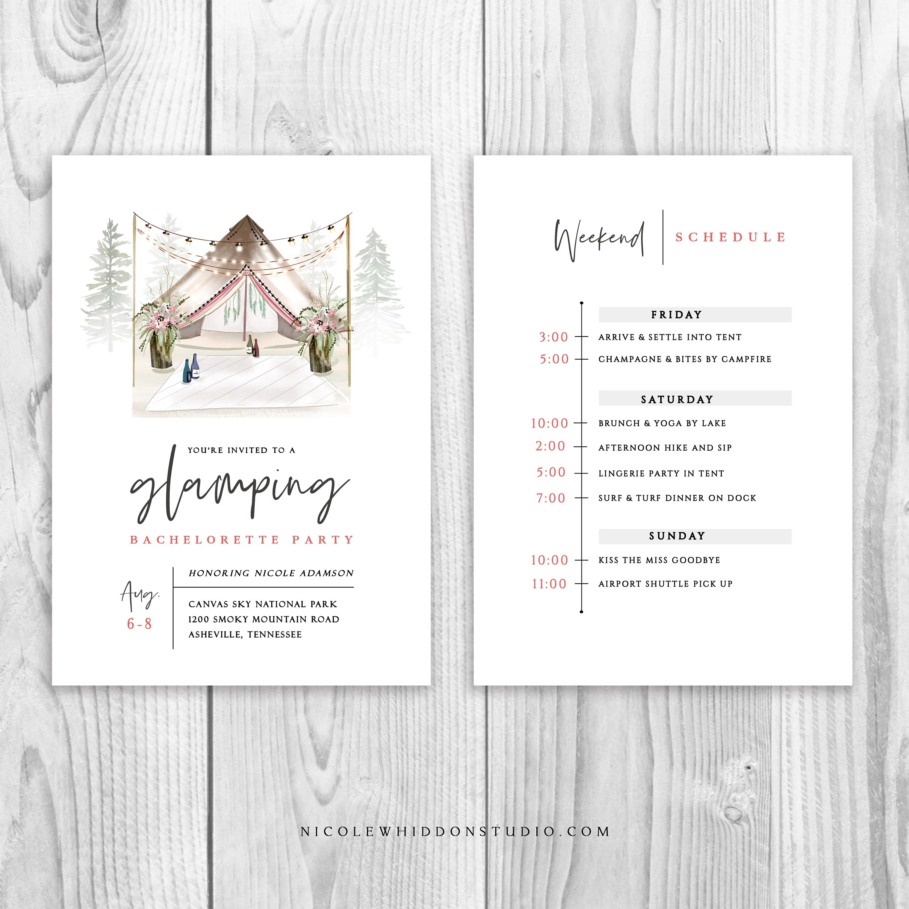 glamping bachelorette party invitations
