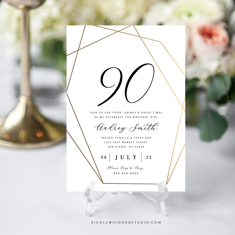90th birthday party invitation instant