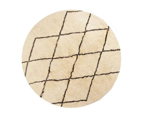 aicha rond tapis berberes ronds laine de mouton blanc motif de diamant derniere tendance noue a la main chambre a coucher