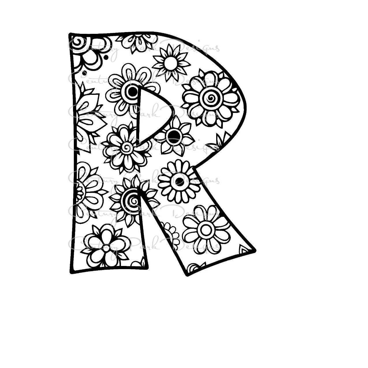 Letter R Alphabet Flowers Svg Use With