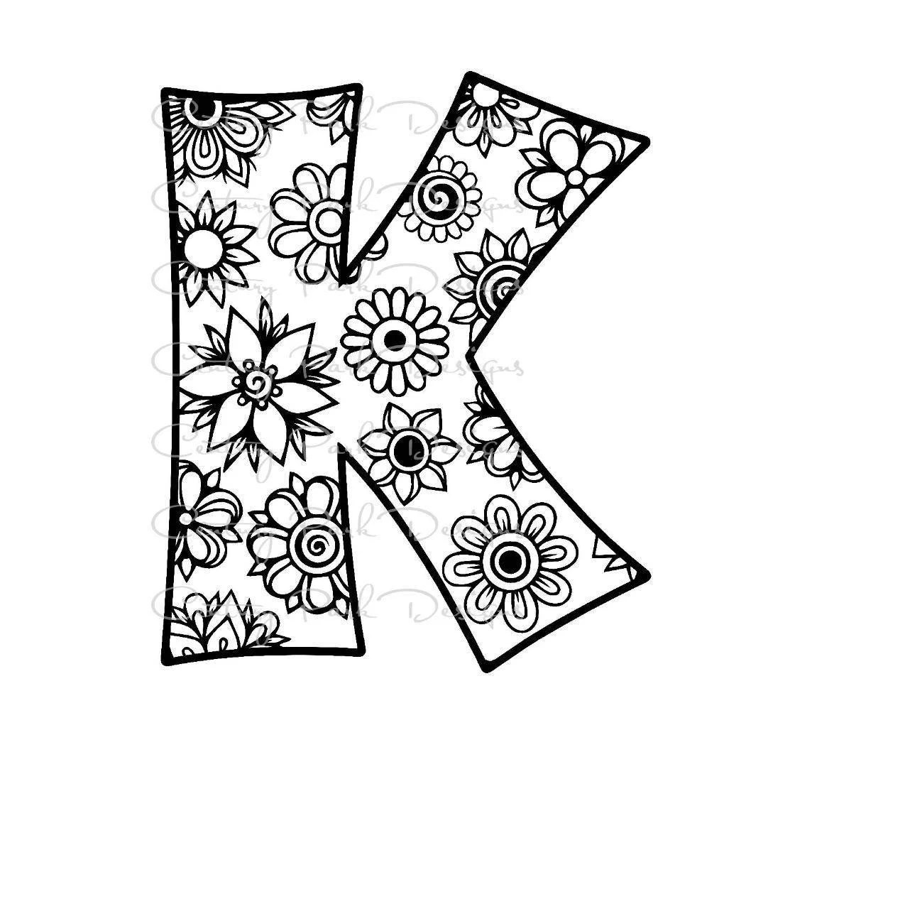 Letter K Alphabet Flowers Svg Use With