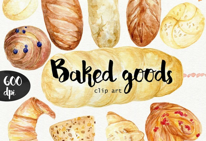 Watercolor Baked Goods Clipart 600 Dpi Png Food Collection Etsy