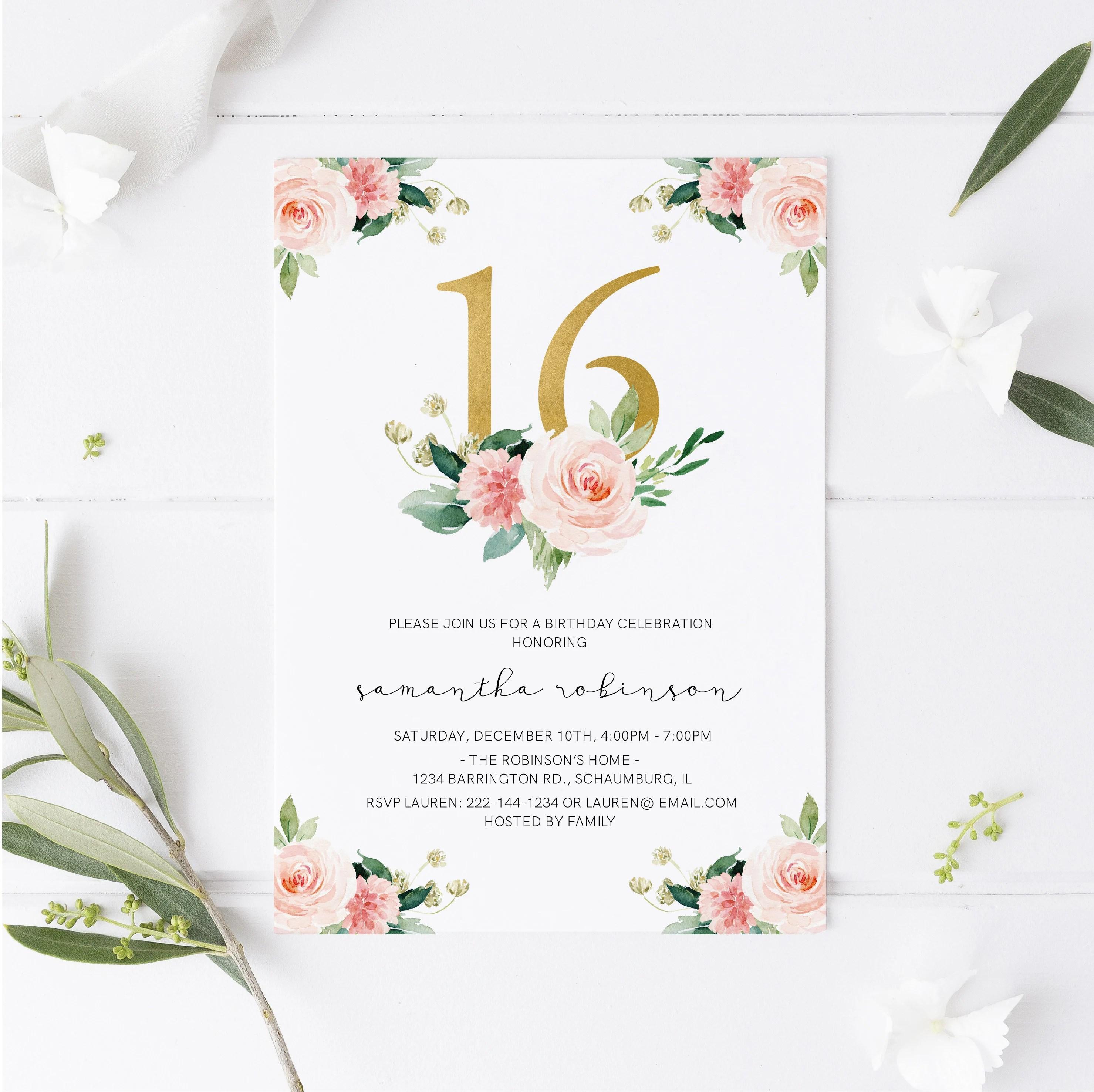 sweet sixteen invitations etsy